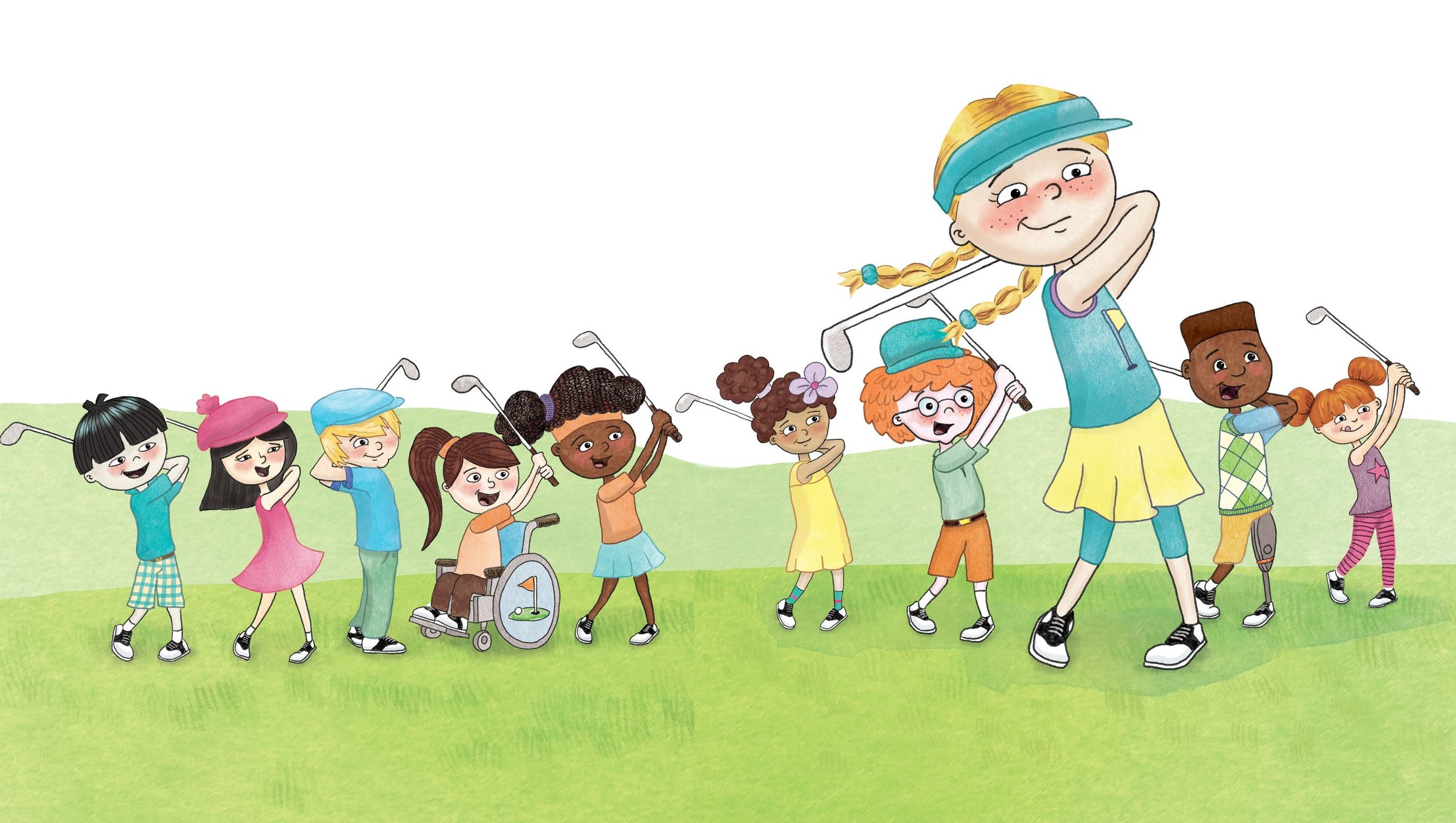 One Two Follow Through is a golf book for kids by Mary Jacobs